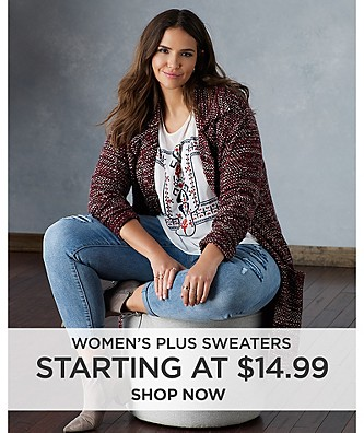 Women's Plus Sweaters starting at $14.99