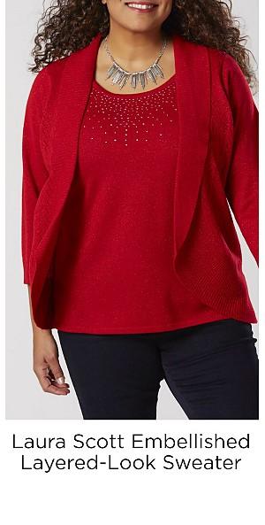 Laura Scott Women's Plus Embellished Layered-Look Sweater