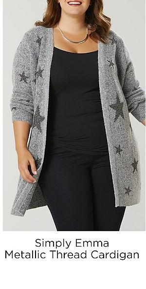Simply Emma Women's Plus Metallic Thread Cardigan