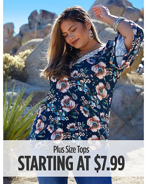 Plus Size Tops Starting at $7.99