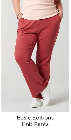 Basic Editions Women's Plus Knit Pants