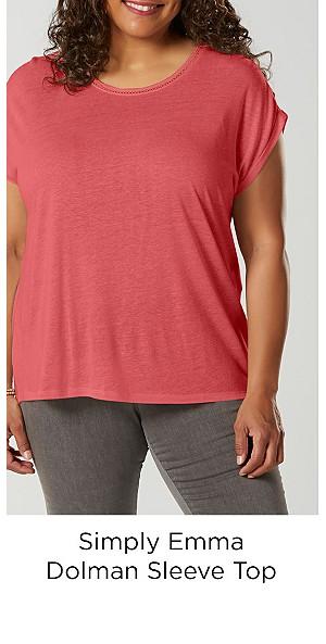 Simply Emma Women's Plus Dolman Sleeve Top