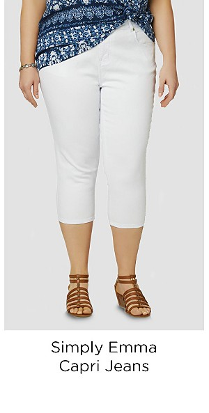 Simply Emma Women's Plus Capri Jeans