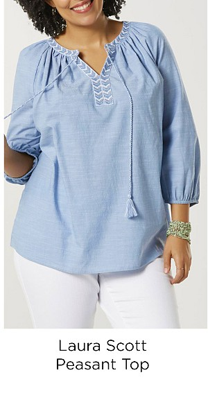 Laura Scott Women's Plus Peasant Top