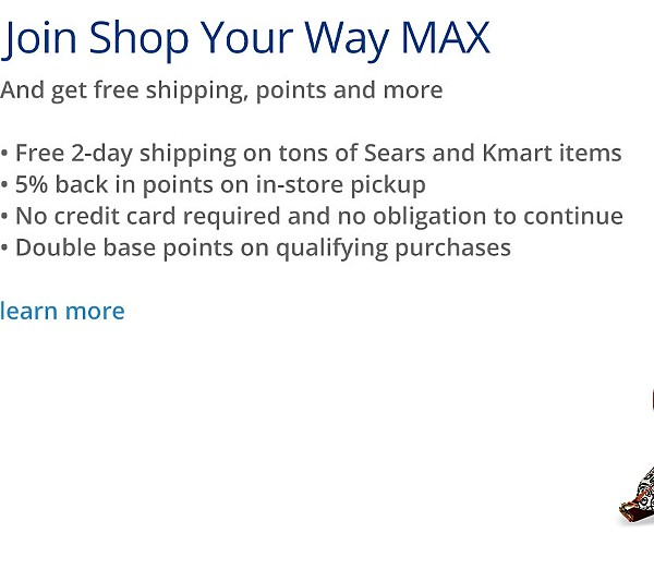 Join Shop Your Way MAX and get free shipping, points and more | Learn More