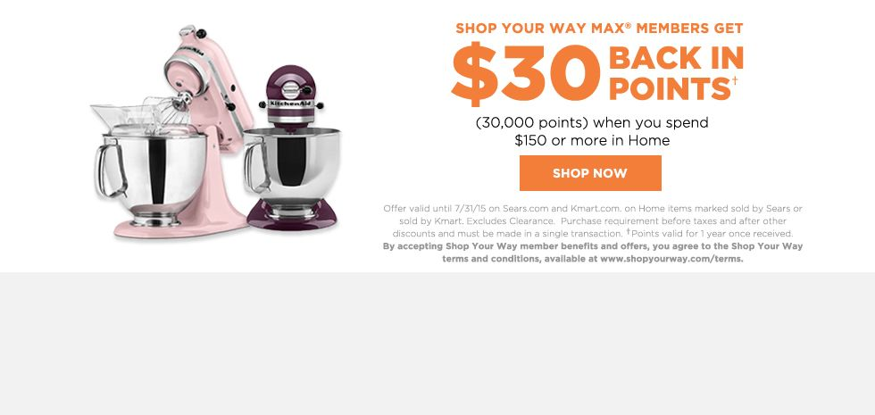$30 BACK IN POINTS | when you spend $150 or more in Home