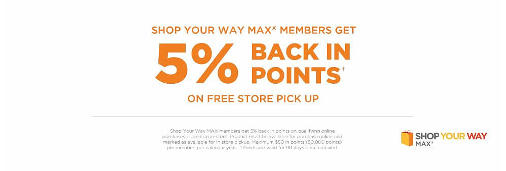 SHOP YOUR WAY MAX® MEMBERS GET 5% BACK IN POINTS ON FREE STORE PICK UP