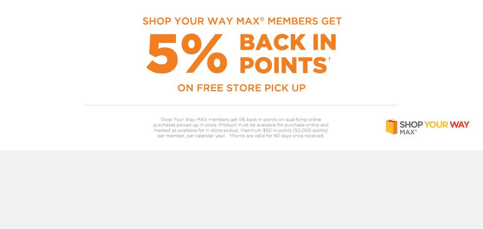 5% BACK IN POINTS ON FREE STORE PICK UP