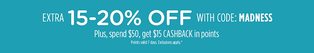 Midsummer Madness - Extra 15–20% off with code: MADNESS+ Spend $15, get $15 CASHBACK in points