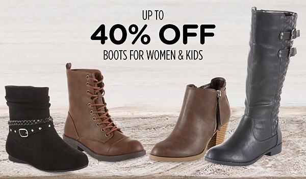 Up to 40% off boots for women & kids