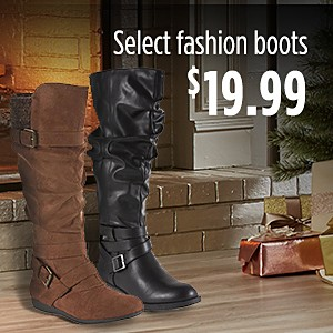 Select women's fashion boots, $19.99