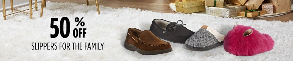 Up to 40% off slippers for the family