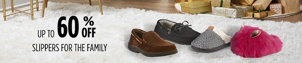 Up to 60% off slippers for the family