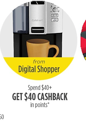 Spend $40 or more, get $40 cashback in points