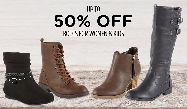 Up to 50% off boots for women & kids