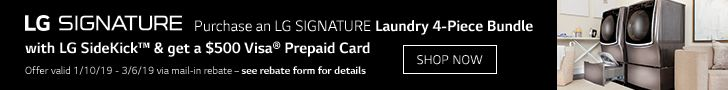 Get a $500 Visa Prepaid card when you buy an LG Signature laundry bundle