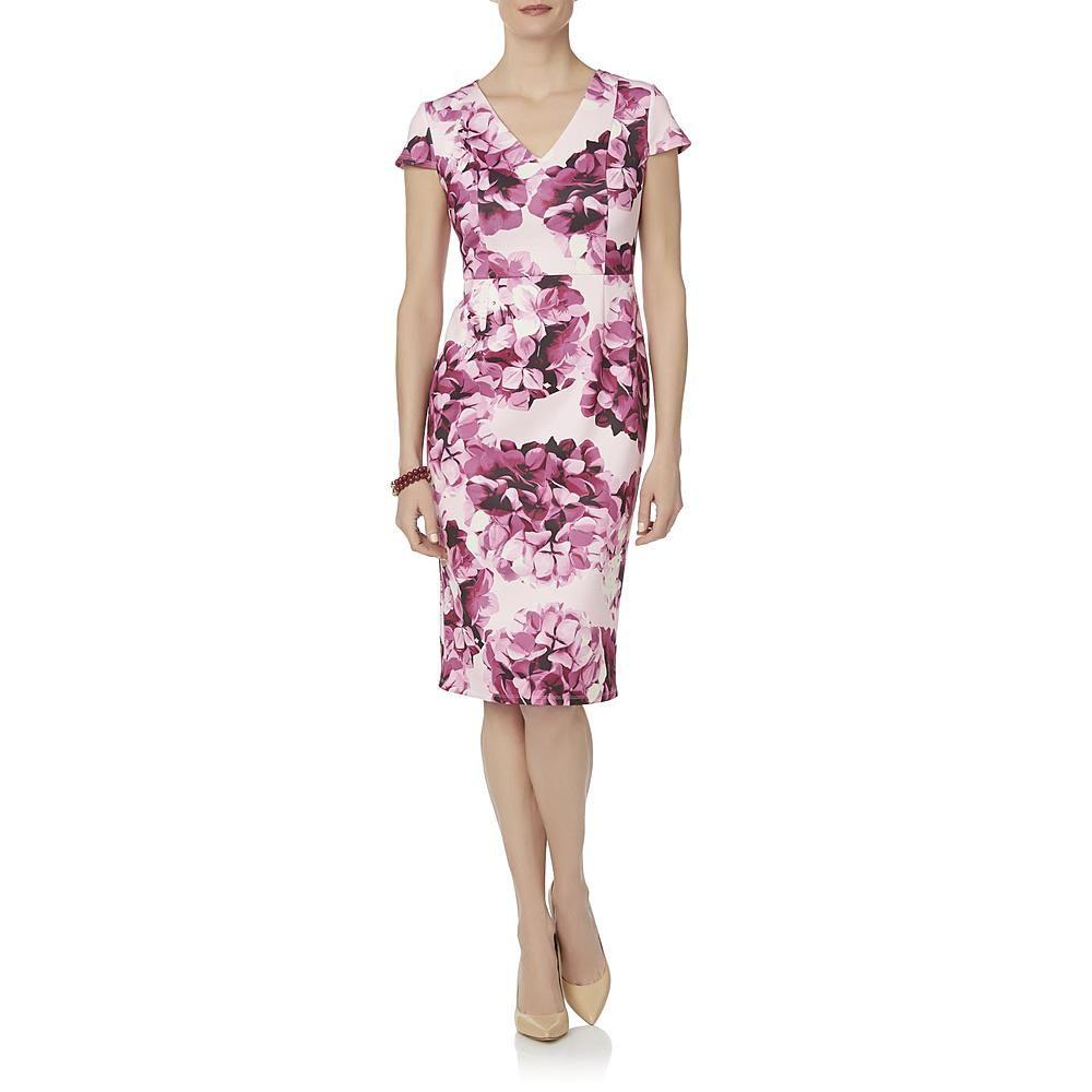 Woman in Jaclyn Smith Midi Sheath Floral Dress