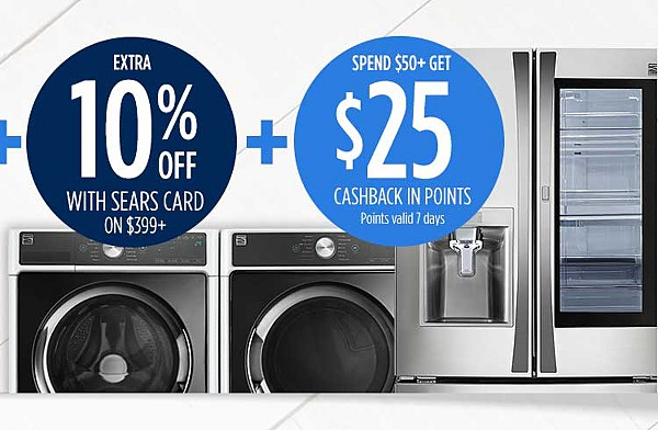 Up to 30% off appliances + extra 10% off for family & friends + extra 10% off with sears card