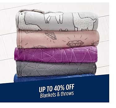 Up to 40% off blankets & throws
