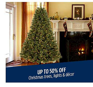 Up to 50% off Christmas trees, lights & decor