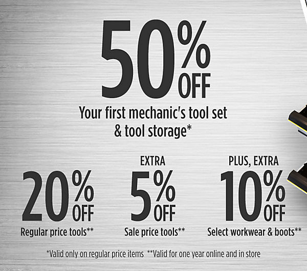 At Sears, you can save 50% on your first mechanics' tool set and tool storage container with the Craftsman Technical Student Discount Program. You'll also receive a discount on regular- and sale-price tools, work wear and work boots so you have everything you need to succeed in school.