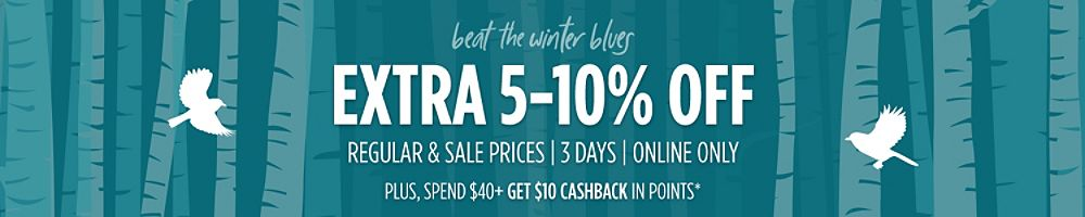 Extra 5-10% Off  Regular & Sale Prices | 3 Days | Online Only