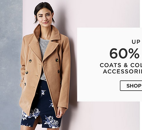 Up to 60% off coats & cold weather accessories for her