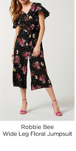 Robbie Bee Women's Wide Leg Floral Jumpsuit