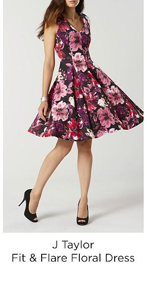 J Taylor Women's Fit & Flare Floral Dress