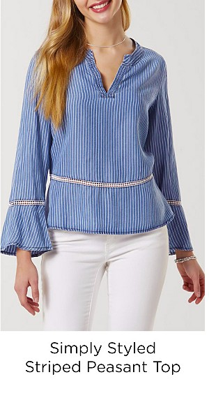 Simply Styled Women's Peasant Top - Striped