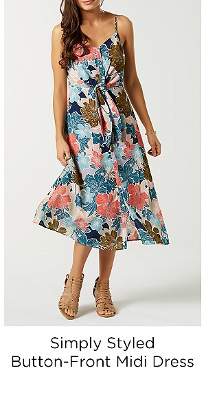 Simply Styled Women's Button-Front Midi Dress