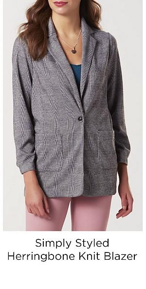 Simply Styled Women's Knit Blazer--Herringbone