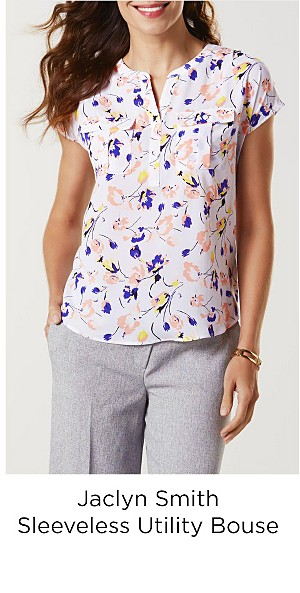 Jaclyn Smith Women's Sleeveless Utility Blouse--Floral