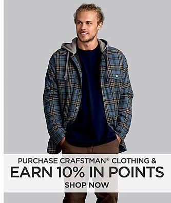 Purchase Craftsman Clothing and Earn 10%  in Points