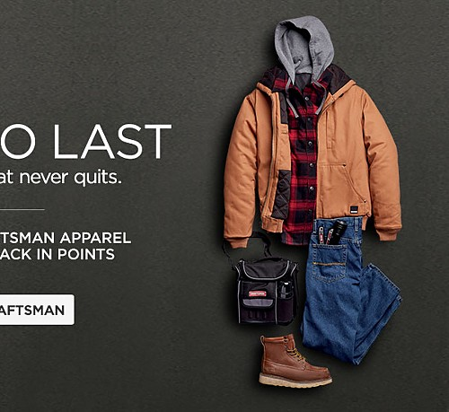 Purchase Craftsman apparel receive 10% back in points
