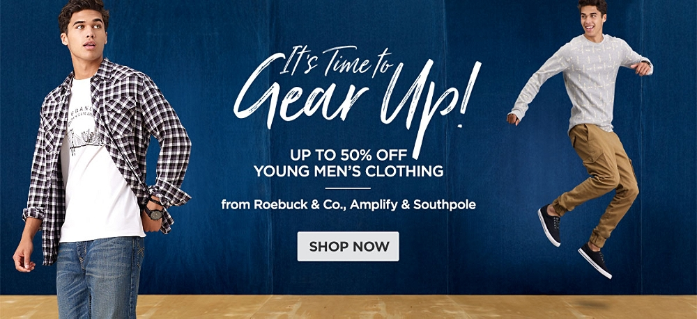 Up to 50% Young Men's Clothing from Roebuck & Co, Amplify, and Southpole