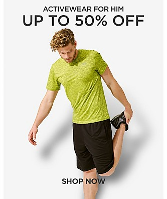 Up to 50% off Activewear for him. Shop Now.