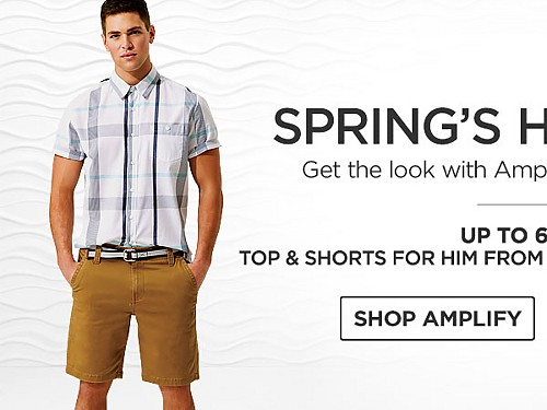 Up to 60% off Tops and Shorts for him from Amplify and Roebuck & Co. Shop Amplify.