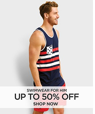 Up to 50% off Swimwear for him. Shop Now