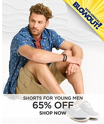 """Semi-Annual Blowout Sale 65% off Shorts.  Shop Now"""