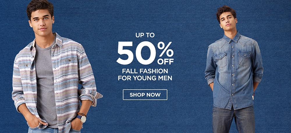 Up to 50% off Fall fashion for young men