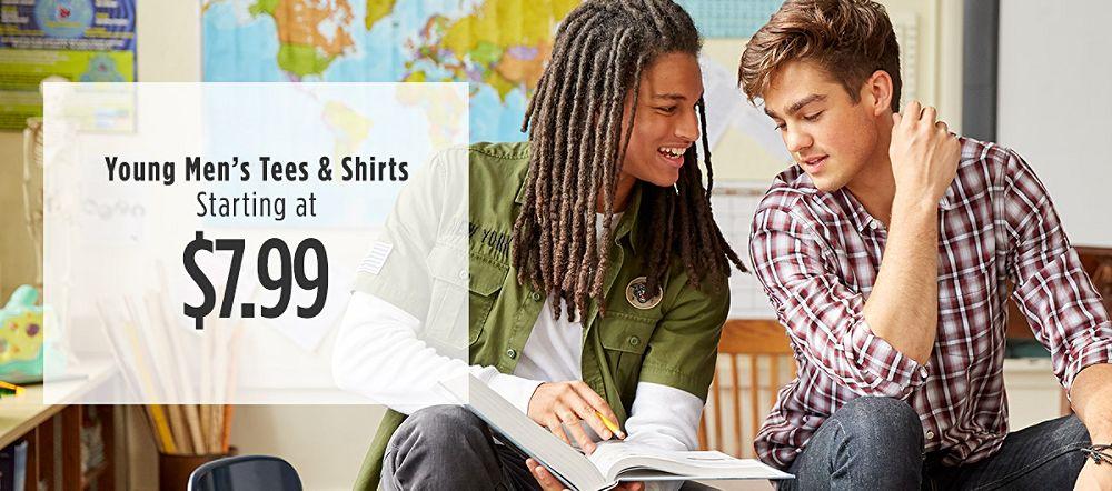 Young Men's Tees & Shirts Starting at $7.99