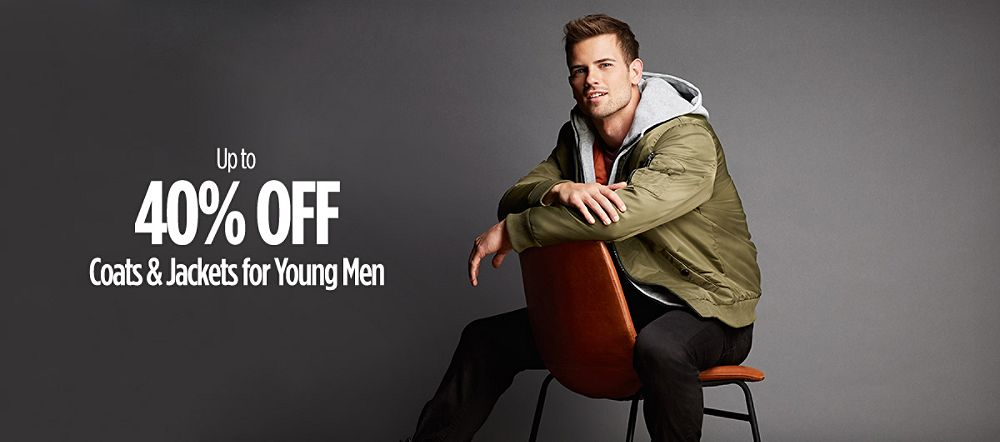 Up to 40% Off Coats & Jackets for Young Men
