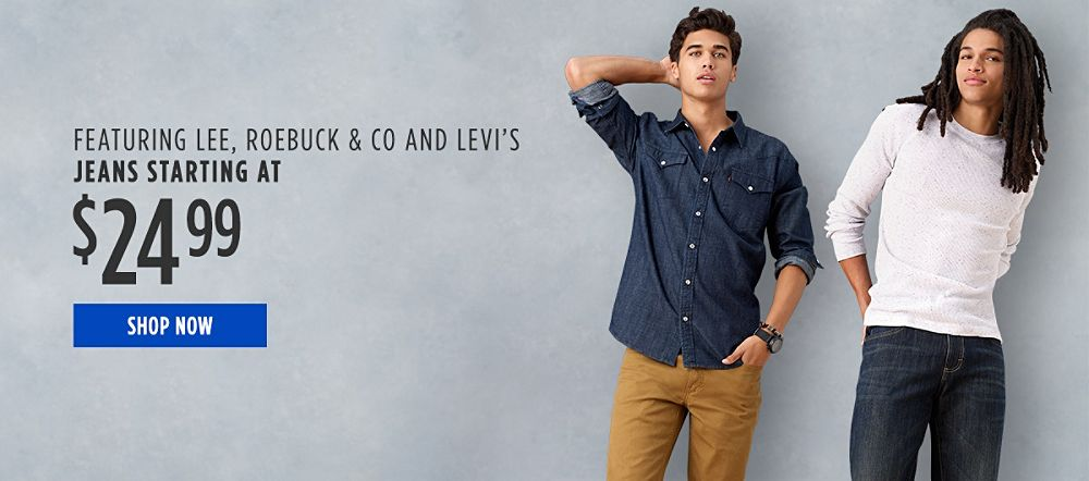 Jeans for Him Starting at $24.99 Featuring Lee, Roebcuk & Co, and Levi's. Shop now