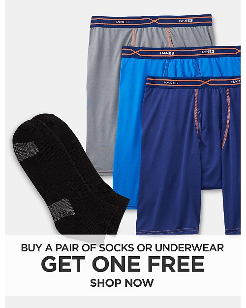 Buy a pair of socks or underwear, get one free. Shop now