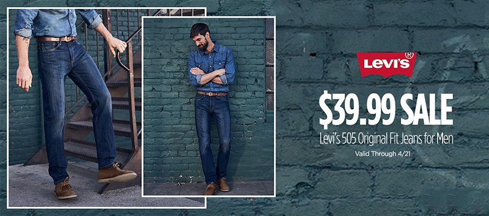 Levi's 505 Original Fit Jeans for Men starting at $39.99 | Valid Through 4/21