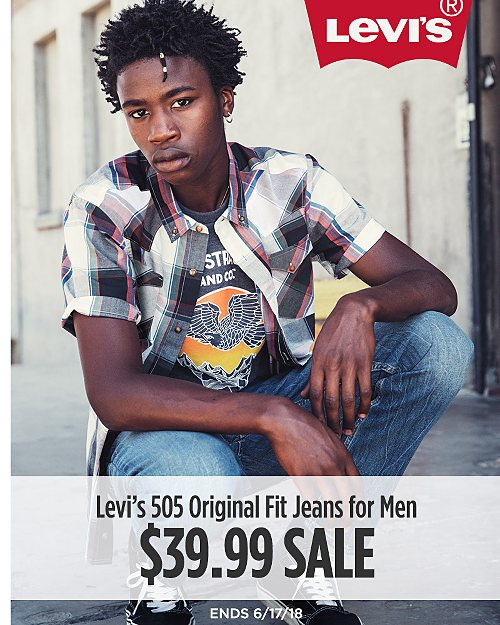 Levi's 505 Original Fit Jeans for Men on sale for $39.99. Regular price $59.50. Valid through 6/17