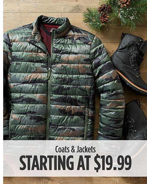 Coats & Jackets Starting at $19.99