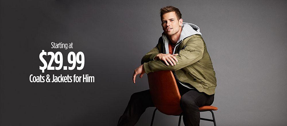 Coats & Jackets for Him Starting at $29.99