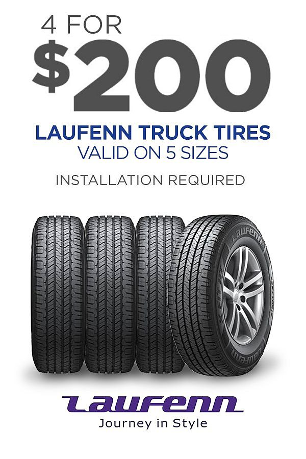 4 Laufenn tires for your SUV or Light Truck as low 4/$200 (installation required)